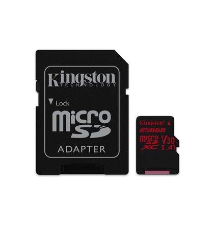 256 GB . microSDXC karta Kingston Canvas React Class U3 UHS-I V30 A1 (r100MB/s, w80MB/s) + adaptér