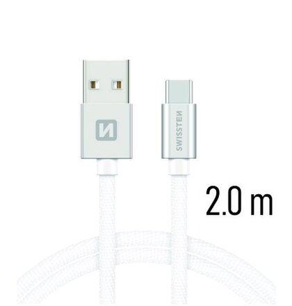 USB-C Kábel Swissten opletený, Quick charge, 3A, 2m - strieborno-biely