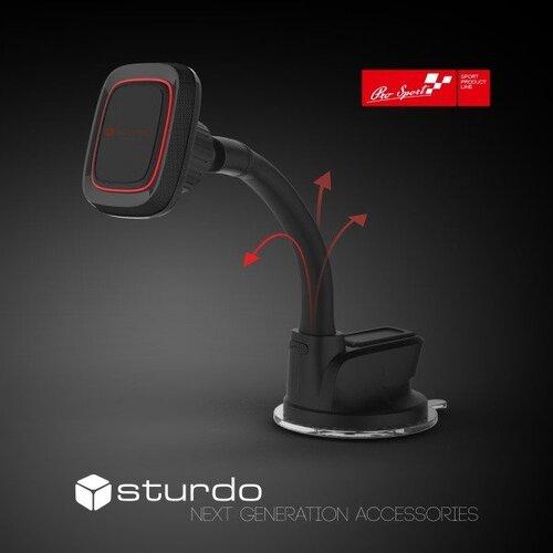 Magnetický držiak na palubnú dosku/čelné sklo STURDO Pro Sport s nano prísavkou Čierny