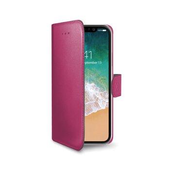 Pouzdro typu kniha CELLY Wally pre Apple iPhone X/XS, PU kože, ružové