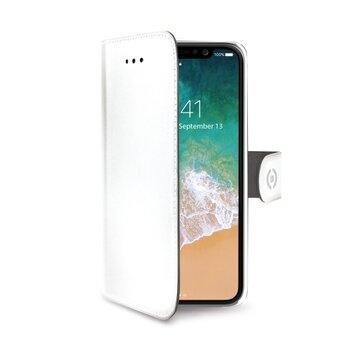 Pouzdro typu kniha CELLY Wally pre Apple iPhone X/XS, PU kože, biele