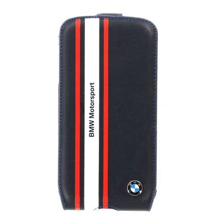 BMFLS4SN BMW Motorsport Flip Kožené Pouzdro pro Samsung S4 i9505 Navy (EU Blister)