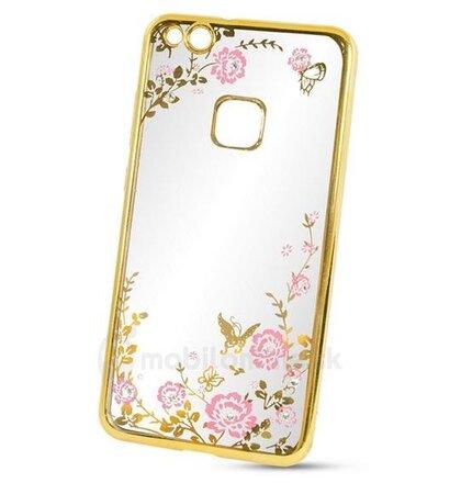 Puzdro Diamond TPU Nokia 5 vzor kvety - zlaté