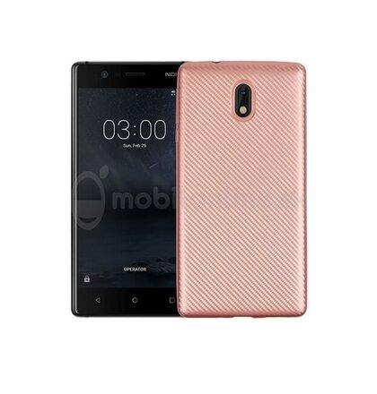 Puzdro Carbon Fiber TPU Nokia 3 - ružovo-zlaté