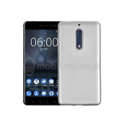 Puzdro Carbon Fiber TPU Nokia 5 - strieborné