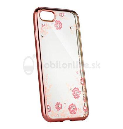 Puzdro Diamond TPU Nokia 3 vzor kvety - ružovo-zlaté