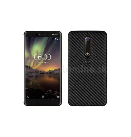 Puzdro Carbon Fiber TPU Nokia 6 - čierne