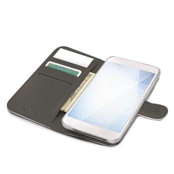 Pouzdro typu kniha CELLY Wally pre Apple iPhone XS Max, PU kože, biele