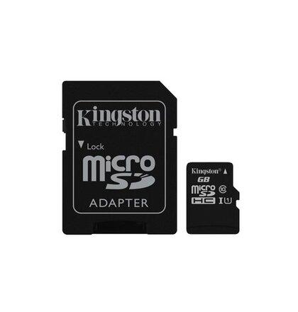 128 GB . microSDXC karta Kingston Class 10 UHS-I (r45MB/s, w10MB/s) + adaptér