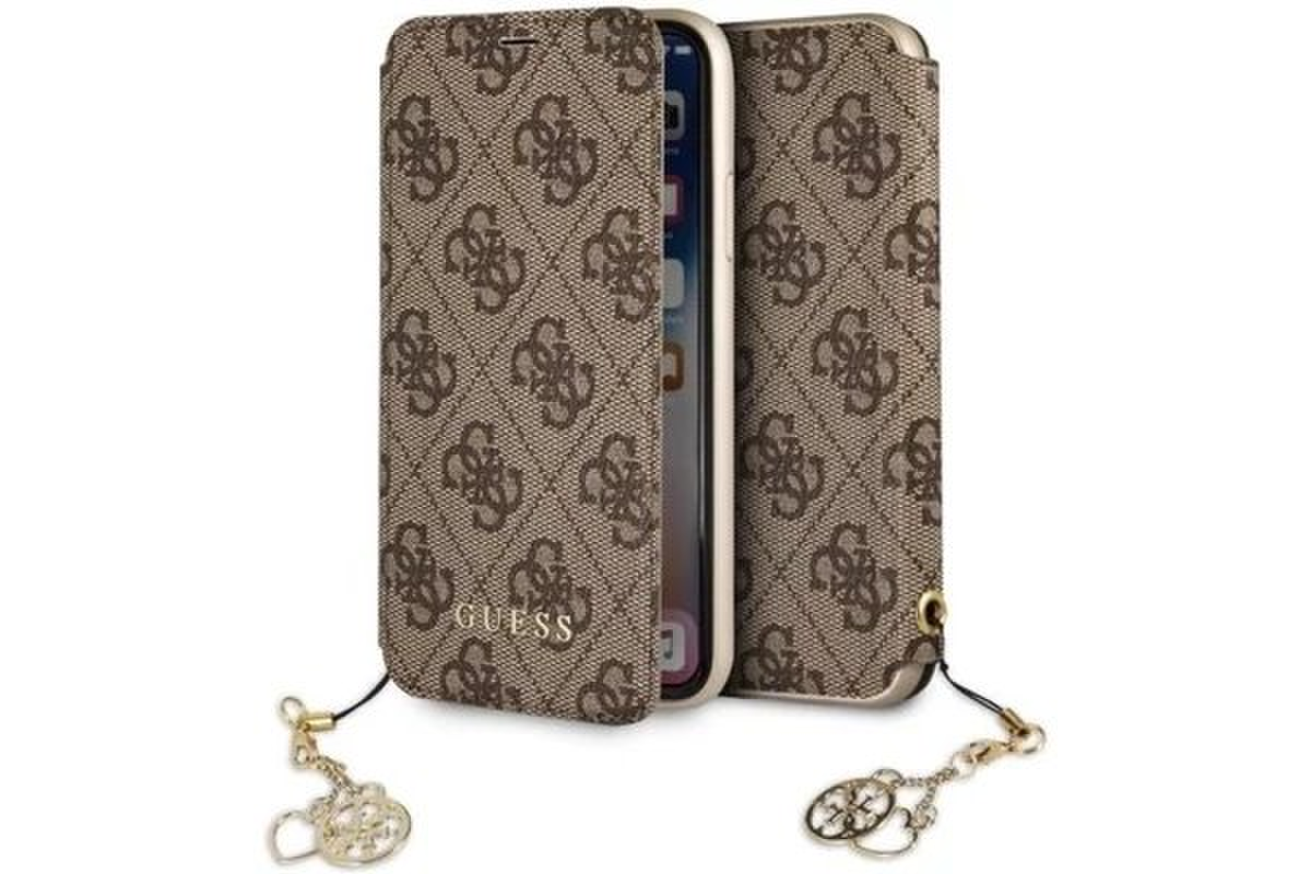 GUFLBKI65GF4GBR Guess Charms Book Case 4G Brown pro iPhone XS Max