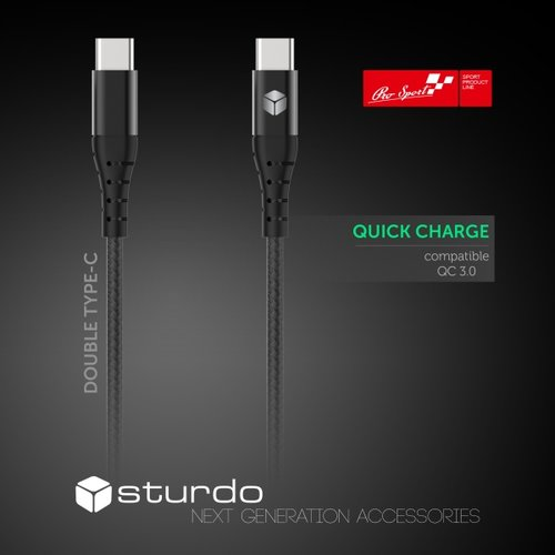 Dátový kábel Sturdo Type-C 2.4A 1m Čierny