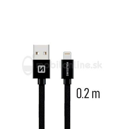 Lightning (8pin) kábel Swissten opletený, 0.2M - čierny