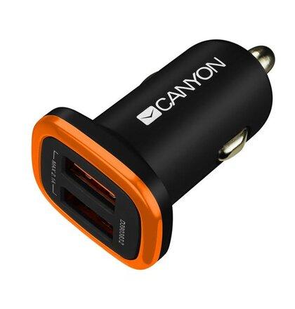 Canyon CNE-CCA02B univerzálna autonabíjačka, 2x USB, výstup 5V/2.1A, inteligentná technológia nabíjania, čierna
