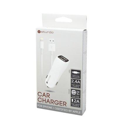 Duálna USB autonabíjačka Sturdo biela s káblom Lightning MFi