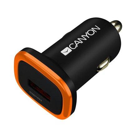 Canyon CNE-CCA01B univerzálna autonabíjačka, 1x USB, výstup 5V/1A, ochrana proti prepätiu, čierna