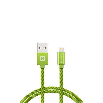 Kábel Lightning (8pin) Swissten opletený, 2M - zelený