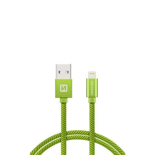 Dátový kábel Siwissten Lightning (8pin) 2m Zelený opletený