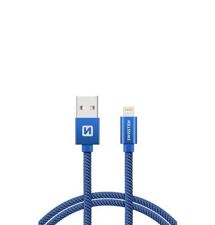 Kábel Lightning (8pin) Swissten opletený, 2M - modrý