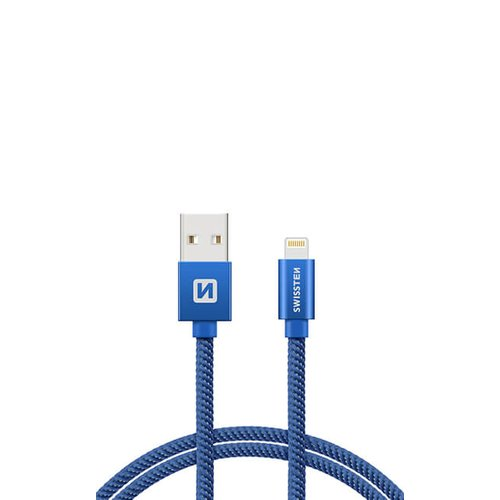 Dátový kábel Swissten Lightning (8pin) 2m Modrý opletený