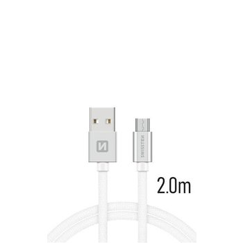 MicroUSB Kábel Swissten opletený, Quick charge, 3A, 2m - biely