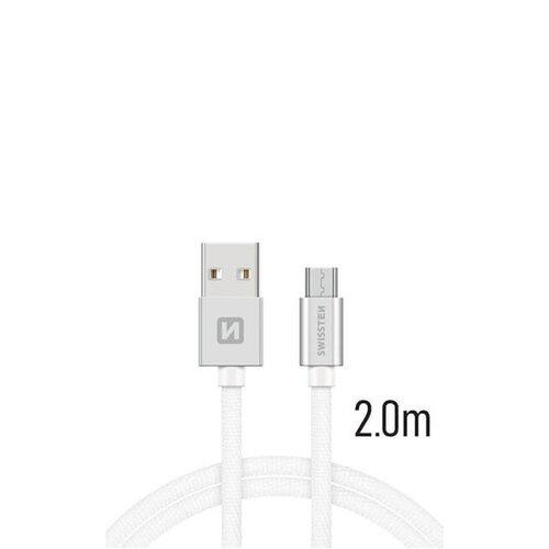 Dátový kábel Swissten Quick Charge MicroUSB 3A 2m Biely opletený