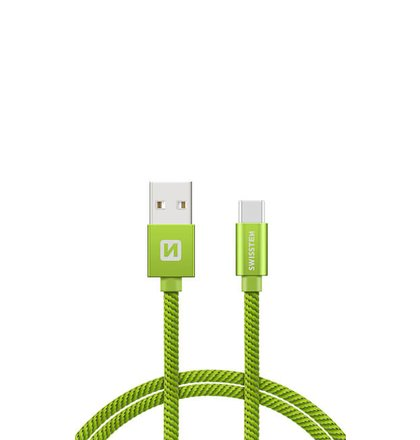 USB-C Kábel Swissten opletený, Quick charge, 3A, 2m - zelený
