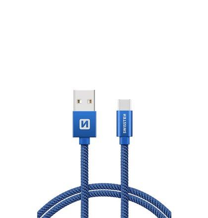 USB-C Kábel Swissten opletený, Quick charge, 3A, 2m - modré