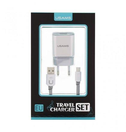 USAMS Dual 2.4A USB Cestovní Dobíječ + U-Trans Type C Kabel White/Grey (EU Blister)