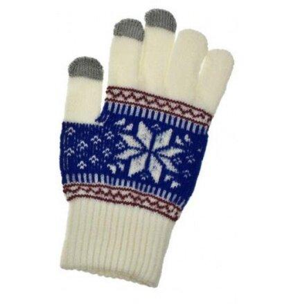 Dámske rukavice na dotykový displej - biele
