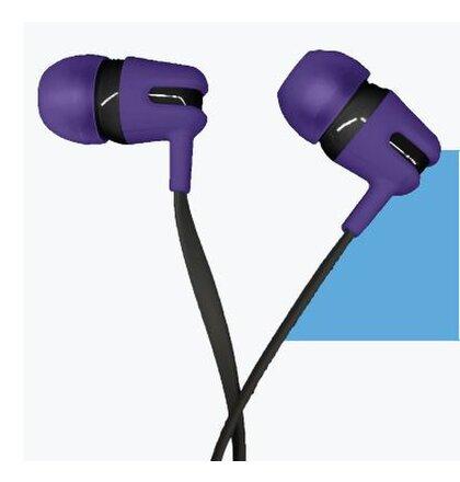 Canyon CNS-CEP4P štýlové slúchadlá do uší, pre smartfóny, integrovaný mikrofón a ovládanie, plochý kábel, fialové