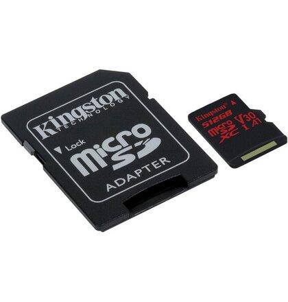 512GB microSDXC Kingston U3 100R/80W s adapt.