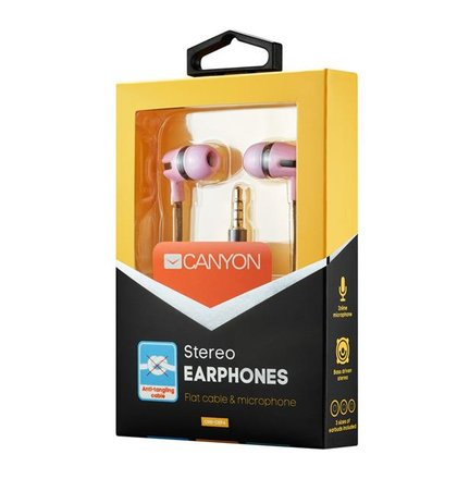 Canyon CNS-CEP4RO štýlové slúchadlá do uší, pre smartfóny, integrovaný mikrofón a ovládanie, plochý kábel, ružové