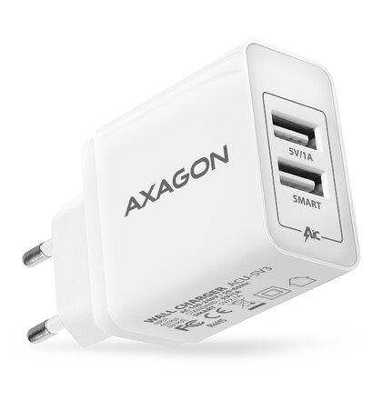 AXAGON ACU-5V3 2.1A + 1A WALL CHARGER. USB nabíjačka