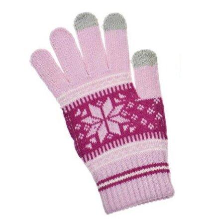 Dámske rukavice na dotykový displej - ružové