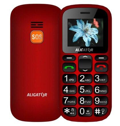 Aligator A321 Senior Dual SIM, Červeno-čierny + stolná nabíjačka