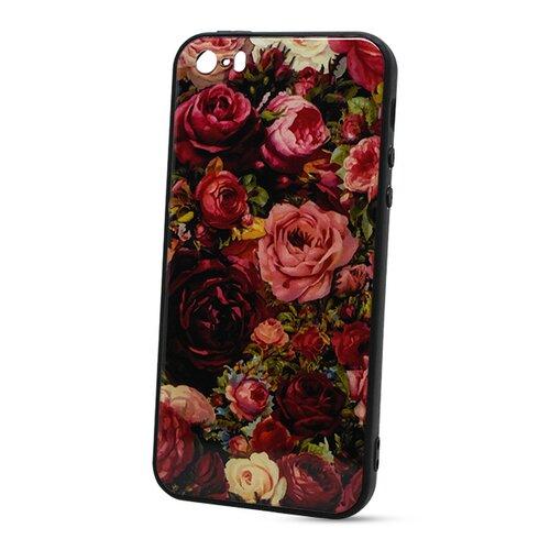 Puzdro Glass Hard TPU iPhone 5/5S/SE - ruže