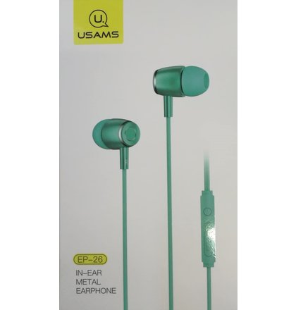 USAMS EP-26 Metal In-Ear Stereo Headset 3,5mm Blue