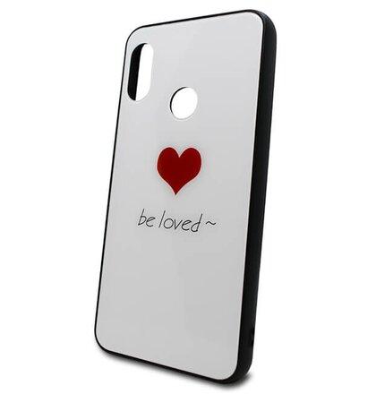Puzdro Glass Hard TPU Xiaomi Redmi Mi A2 Lite Srdce - biele