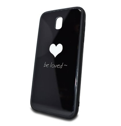 Puzdro Glass Hard TPU Samsung Galaxy J5 J530 Srdce - čierne