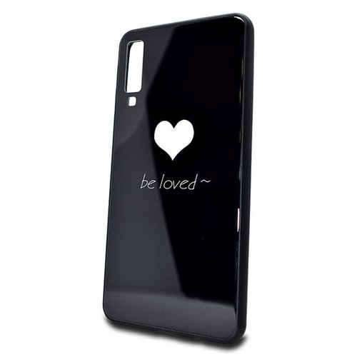 Puzdro Glass Hard TPU Samsung Galaxy A7 A750 Srdce - čierne