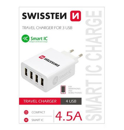 Sieťový USB adaptér Swissten Smart IC 4xUSB 5A power, biely