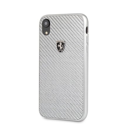 FEHCAHCI61SI Ferrari Heritage Real Carbon Hard Case Silver pro iPhone XR
