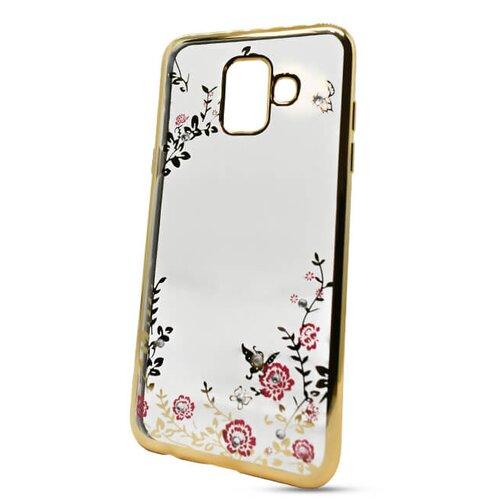 Puzdro Forcell Diamond TPU Samsung Galaxy A6 A600 vzor kvety - zlaté