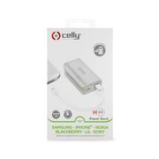 PowerBank CELLY s USB výstupom, microUSB káblom a LED svietidlom, 4000 mAh, 1A, biela