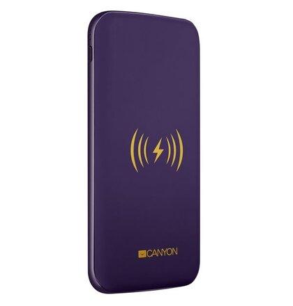 Canyon CNS-TPBW8P Powerbank, polymérová, 8.000 mAh, vstup USB-C + microUSB, 2 x USB výstup, bezdrôtové nab., fialová
