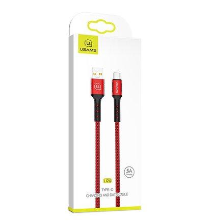 Kábel USAMS SJ289 USB-C 5A 1,2m pletený (EU Blister) - červený