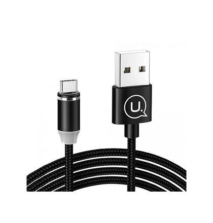 Magnetický Kábel USAMS SJ293 U-Sure 2.1A  pletený USB-C 1m - čierny
