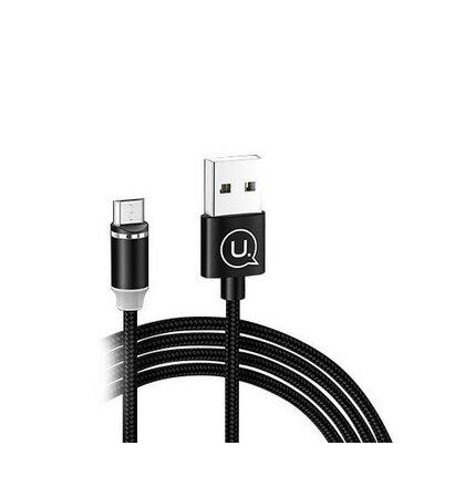 Magnetický Kábel USAMS SJ294 U-Sure 2.1A  pletený Micro USB 1m - čierny