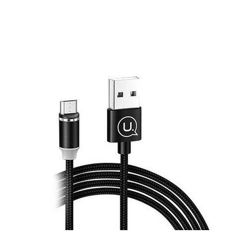 Magnetický kábel USAMS SJ294 U-Sure Micro USB 2.1A 1m Čierny opletený