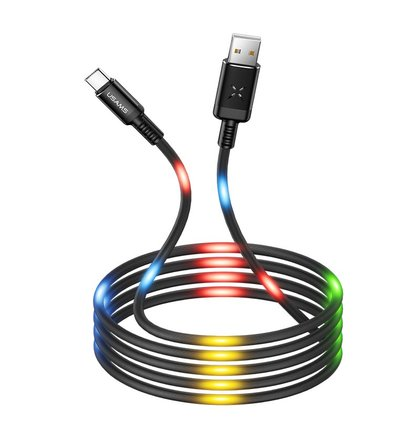 USAMS SJ287 Datový Kabel Type C Voice Control LED Black (EU Blister)